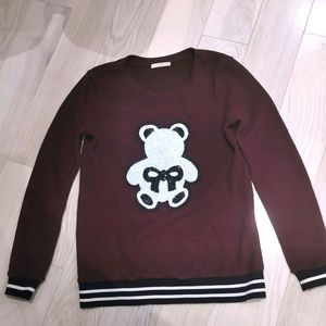 Lelis novelty sweater with sequin teddy bear